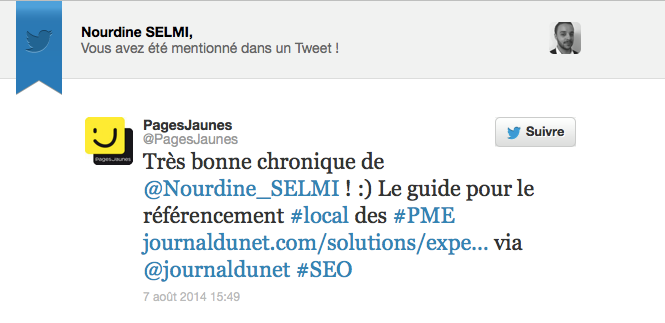 tweet pages jaunes - l'agence web
