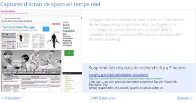 Quand google donne en temps réel des exemples de site blacklistés