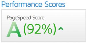 Score GTMetrix après optimisation du cache