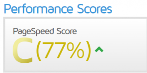 Score GTMetrix avant optimisation du cache